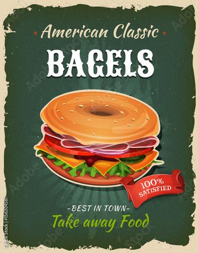 In de dag Vintage Poster Retro Fast Food Bagel Poster
