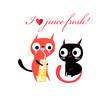 Vector in love funny kittens - 156312936