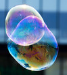 Beautiful soap bubbles fly in the city - 156314111