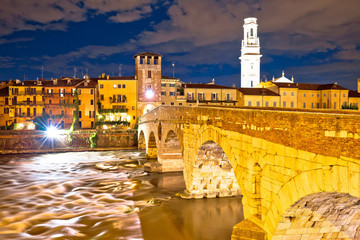 City of Verona Adige riverfront evening view
