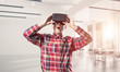 Concept of modern entertaining technologies with man wearing vir