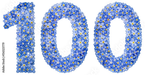 Poster Arabic numeral 100, one hundred, from blue forget-me-not flowers