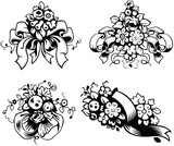 Vector illustrations of wedding bouquets, black and white style