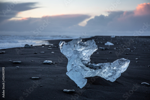 Foto op Canvas Zee zonsondergang black and ice 2