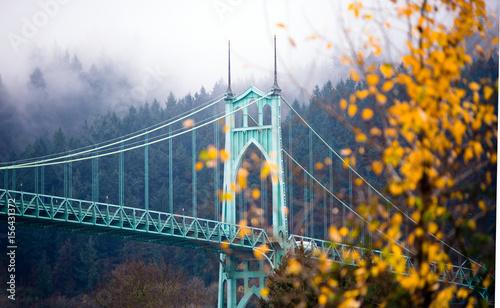 St Johns gothic style bridge Portland Oregon beautiful autumn Photo by vit