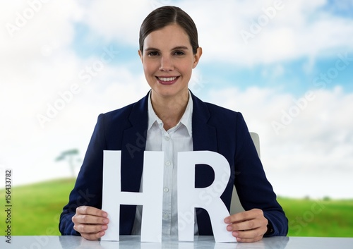 Cut out HR letters with landscape
