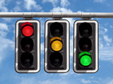 Traffic lights - red yellow green against sky - 156435345