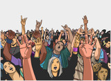 Illustration of festival crowd having fun at concert - 156446939