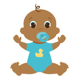 cute baby boy icon over white background. vector illustration