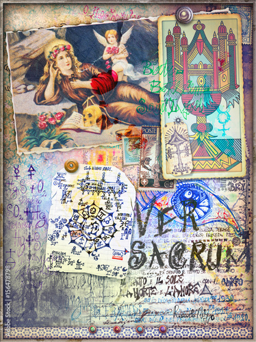 Fortune telling.Esoteric and astrologyc manuscript with sketches,draws and scraps