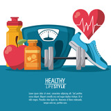 color poster elements sport healthy lifestyle with heartbeat rhythm vector illustration