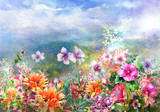 Abstract colorful flowers watercolor painting. Spring multicolored in .nature - 156503508