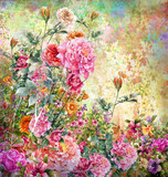 Abstract colorful flowers watercolor painting. Spring multicolored in .nature. - 156503521