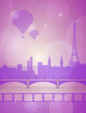 Paris city landscape with balloons. Romantic background with Eiffel tower for design. Evening city silhouette vector illustration.