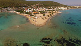 Aerial drone photo of Agistri island with clear waters, Saronic gulf, Greece