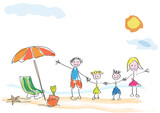 Vector drawing made by a child, happy family on vacation at the beach - 156527158