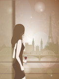 Woman with a glass of wine looks out the window to Paris city landscape. Romantic background with Eiffel tower for design. Evening city silhouette. Beautiful girl in France vector illustration.