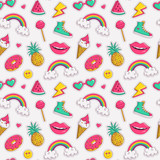 Fototapety Vector seamless pattern with cute patches.