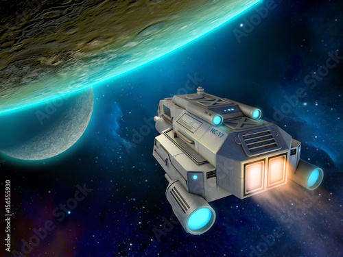 Foto op Canvas Spaceship approaching a planet