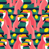 Seamless vector background. Pink toucans on a tropical background. Vector illustration.