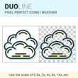 Pixel perfect duo line overcast icon on white and transparent background for responsive web or product design. Can be used in weather forecast apps or widgets