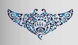 Синий градиент эскиз татуировки скат Полинезия - 156579712