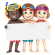 3d render of a kids wearing swimwear and goggles with a blank board