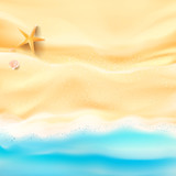 Abstract background sand and sea beach starfish shell and rock with copy space for summer vacation concept