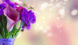 Calla lilly and eustoma flowers bouquet close up banner