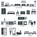 Vector furniture silhouette icons 2 - 156596121