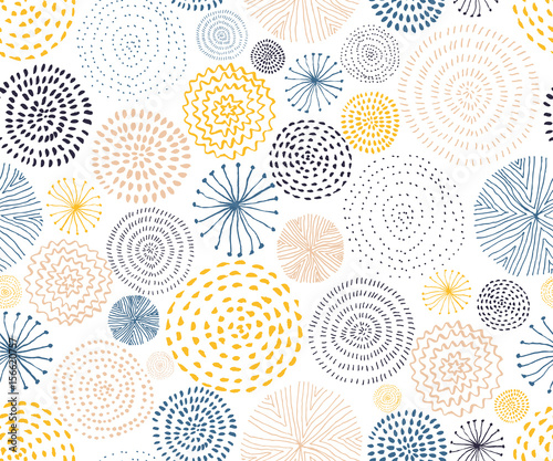 Vector seamless pattern with ink circle textures. Abstract seamless background with colorful fireworks. - 156620757