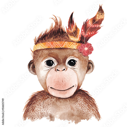 Watercolor monkey portrait - 156635749