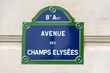 Street sign of the rue Champs-Élysées in the 8th arrondissement of Paris, France.
