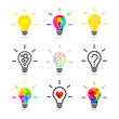 Light bulb concept. Set made of various design and style.