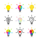 Light bulb concept. Set made of various design and style. - 156653935