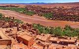 Ouarzazate.Morocco travels and architecture.Village and river.