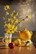 �атюрморт � ве�енними цветами и фруктами.