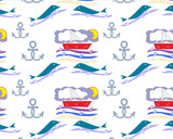 vector children's  pattern with sea theme