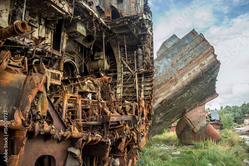 Poster Schipbreuk Rusty ruins Russian sunken warship Indomitable (Neukrotimiy) raised from the bottom and sawed for scrap metal