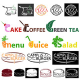 Various colorful icons on theme of eating.
