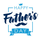 Happy Fathers Day calligraphy light banner. Happy father`s day vector lettering background. Dad my king illustration - 156727186