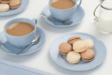 Chocolate and Vanilla Macarons with Hot Tea