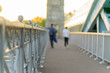 Andreyevsky bridge in Moscow, summer. close up