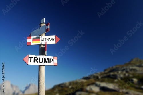 USA and Trump written on signpost, politics concept Poster