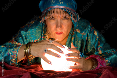 Plakát Fortune Teller and Crystal Ball