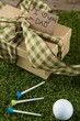 Close up of fathers day gift with golf ball and tee on field