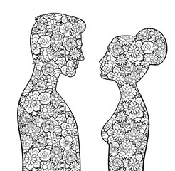 Male and female silhouettes with flowers inside them. Man and woman looking to each other. Couple of lovers. Antistress coloring page for adults. Monochrome vector image, isolated on white