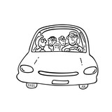 Happy family on the car. outlined cartoon handrawn sketch illustration vector.