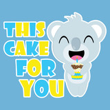 Cute koala brings birthday cupcake vector cartoon, Birthday postcard, wallpaper, and greeting card, T-shirt design for kids