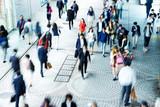 crowde people on street in modern city